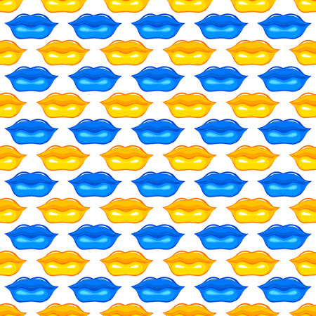 hot lips: Los labios azules y amarillos labios Labios la textura del fondo Labios ilustraci�n