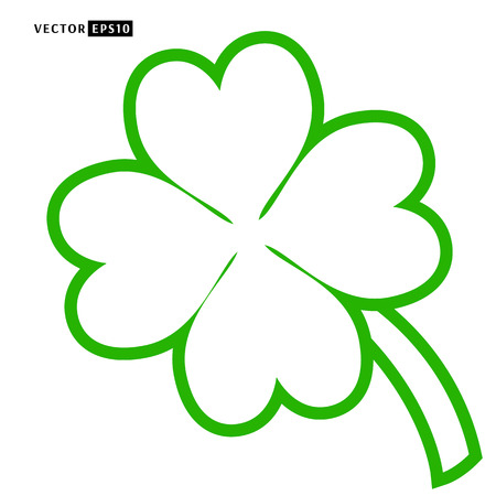 Lucky four leaf clover outline vector illustration