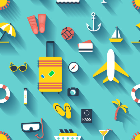 Flat design style modern background with icons set of planning a summer vacation, travelling on holiday journey, tourism and travel objects Vector