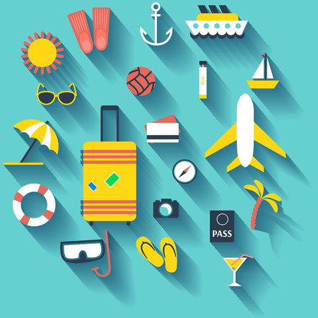Flat design style modern illustration icons set of planning a summer vacation, travelling on holiday journey, tourism and travel objects