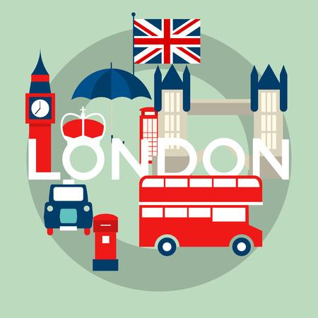 drapeau angleterre: Ensemble vecteur de symboles de Londres Illustration