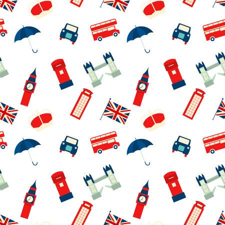 ロンドンのシンボル ベクトル シームレス テクスチャ  イラスト・ベクター素材