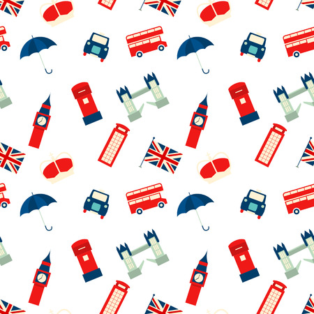 tower of london: Vector seamless texture with London symbols Illustration