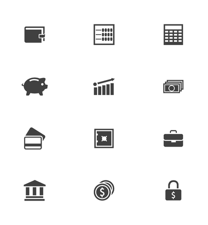 counterfeit: Money and business icons set.