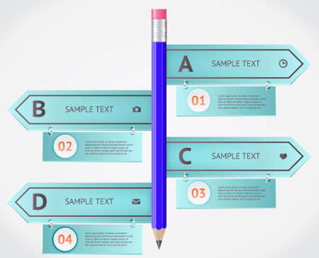 Modern business origami style options banner.  Vector