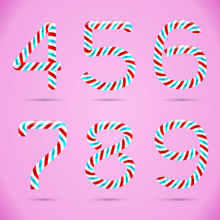 Candy 3D alphabet. Candy numbers. Sweet numbers. Vector numbers. Candy font. Typography. Number 4. Number 5. Number 6. Number 7. Number 8. Number 9. Four. Five. Six. Seven. Eight. Nine.  Stock Vector - 29126752