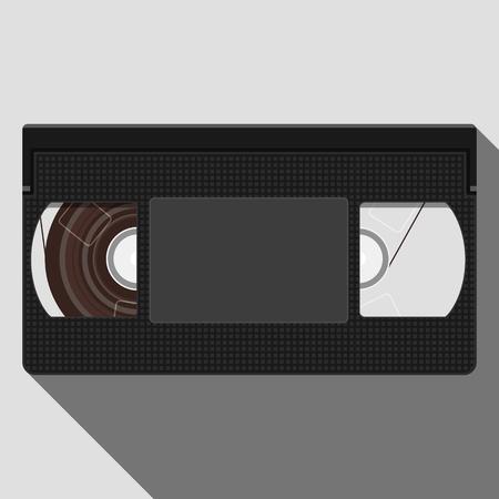 Retro Videotape. Illustration of Retro VHS Video Tape. Vector flat illustration