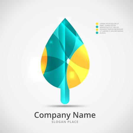 leaf logo: Leaf logo, seasonal autumn concept, branding logotype design