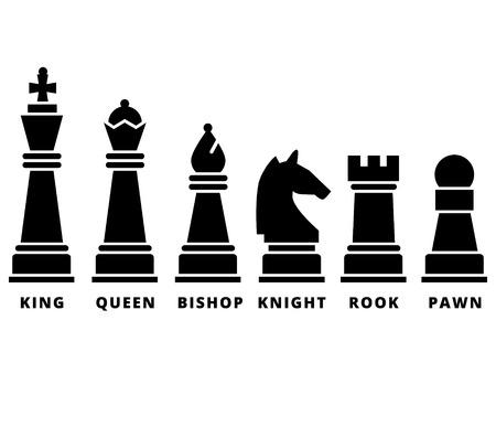 チェスの駒のセットです。黒いシルエット ベクトル アイコン。キング クイーン ルーク司教騎士とポーン