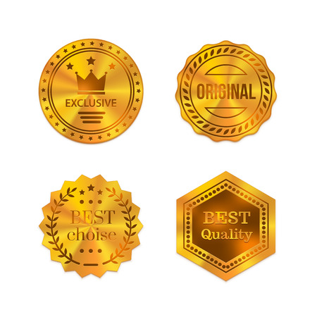 Golden metal badges isolated on white background. Best quality, best choice, original, exclusive Vector