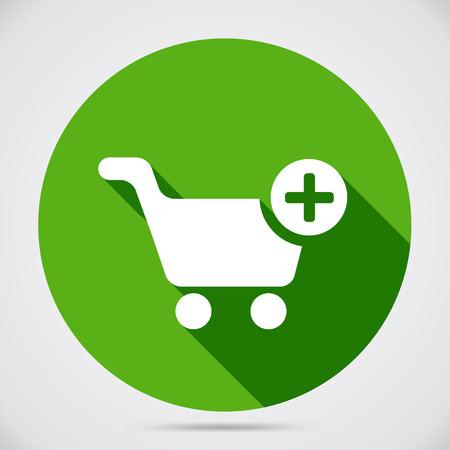 オンライン ショッピングのための緑の円 web ナビゲーション ボタンをチェック アウト時の購入のためのトロリーに選択した商品を追加する緑の円周  イラスト・ベクター素材