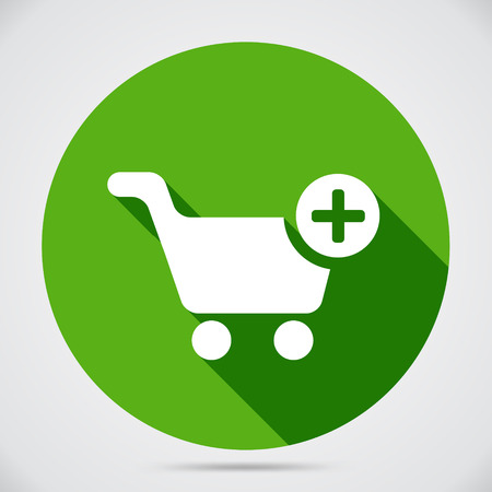 Shopping cart icon with a plus sign on green circle to add selected merchandise to the trolley for purchase at checkout on green circle web navigation button for online shopping