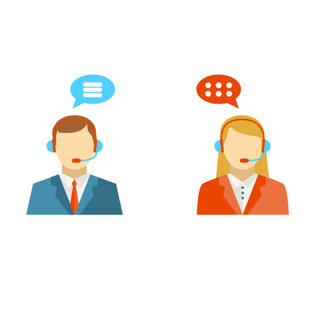 Male and female call center avatar icons.  Man and woman wearing headsets with colorful speech bubbles conceptual of client services and communication