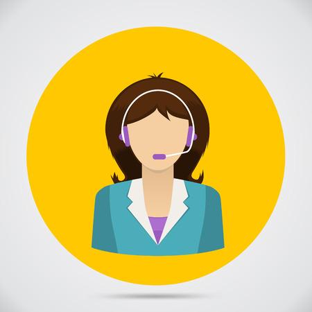 24x7: Support assistant flat design. Customer service. Vector illustration