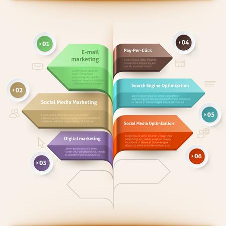 Search engine optimization arrow, pay per click arrow, email marketing arrow, social media marketing arrow, social media optimization arrow, digital marketing arrow. For step up options, web design Vector