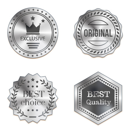 silver: Silver metal badges isolated on white background. Best quality, best choice, original, exclusive