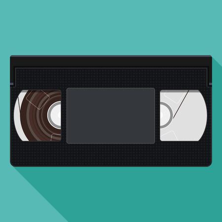 Retro Videotape. Illustration of Retro VHS Video Tape. Vector flat illustration Vector