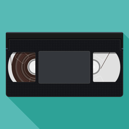 vhs videotape: Retro Videotape. Illustration of Retro VHS Video Tape. Vector flat illustration