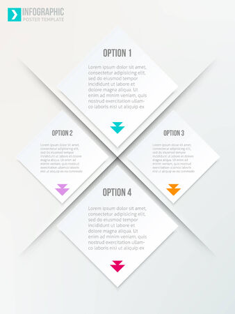 Abstract rhombus geometric vector brochure template with arrows. Flyer layout. Flat style. Infographic elements. Illustration