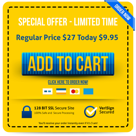 order now: Blue Add To Cart button with yellow text. Vector illustration.