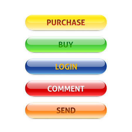 Set of retro buttons. Purchase. Buy. Login. Comment. Send. Can be used for websites, banners, call cards, shops. Vector