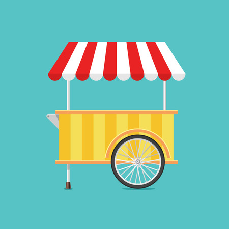 Retro vector ice cream cart on green background in flat style