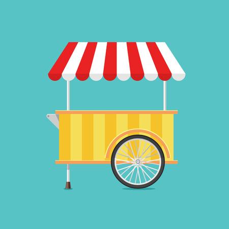 carretto gelati: Retro vettore ice cream carrello su sfondo verde in stile piatto