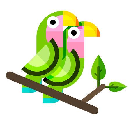 lovebirds: Flat vector illustration of lovebirds. Two parrots in flat style.