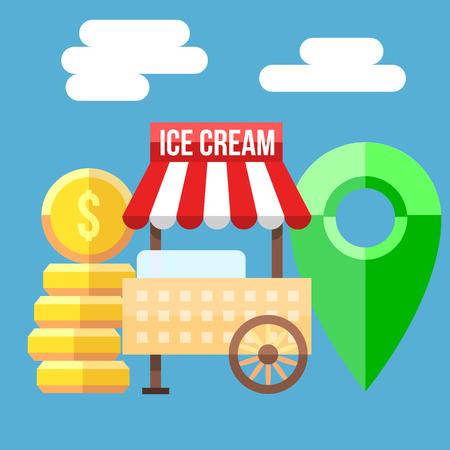 carretto gelati: Retro illustrazione vettoriale di Ice Cream Cart, monete e carta punto. Vettoriali