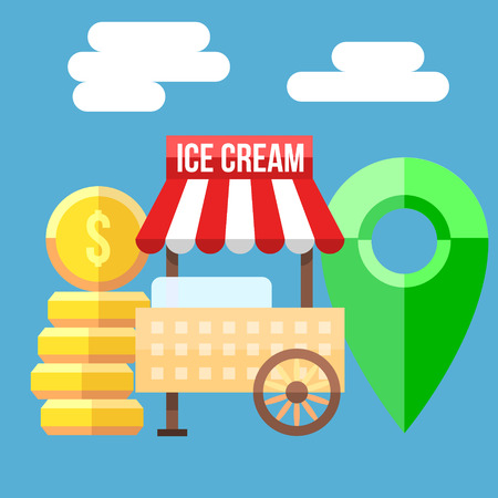 ice cream cart: Retro vector illustration of Ice Cream Cart, coins and map point.