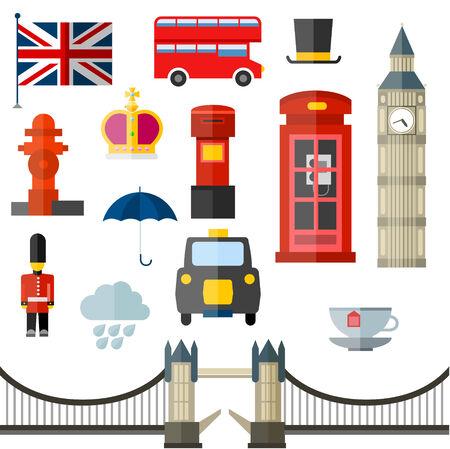 London vintage retro icons. Flag umbrella rain cloud tea crown tower bridge cab taxi phone box telephone hidrant bus hat royal mail big ben soldier flag. Vector