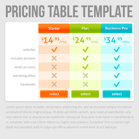 pricing: Pricing Table Template. Three Plan Type — Starter, Plus and Business Pro. Three offers on grey background