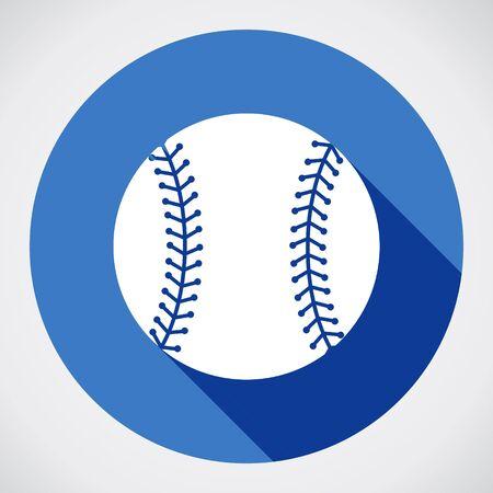 野球ボールの記号アイコン。スポーツ シンボル。青い丸い影付きのボタン。モダンな UI のウェブサイトのナビゲーション。ベクトル