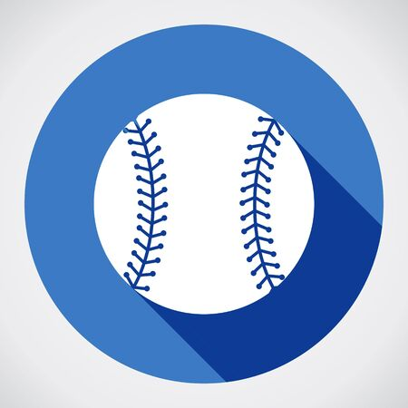 Baseball ball sign icon. Sport symbol. Blue flat round button with shadow. Modern UI website navigation. Vector