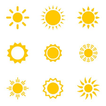 sol caricatura: Conjunto de soles vector. Colecci�n Suns. Objetos aislados sobre fondo blanco.