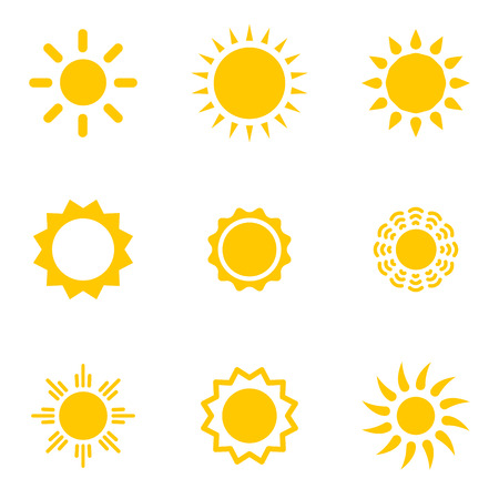 sun vector: Set of vector suns. Suns collection. Isolated objects on white background.