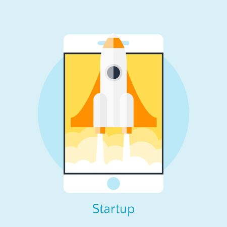 Modern vector illustration concept for new business project startup, new product or service. Smartphone with spaceship. Cellphone with spaceship. Vector