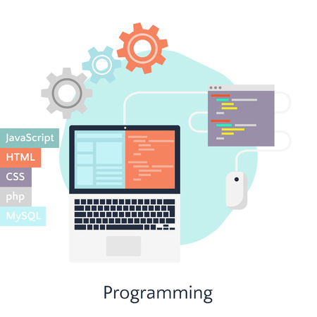 Abstract flat vector illustration of software coding and development concepts. Design elements for mobile and web applications. Programming in JavaScript, HTML, CSS, php, MySQL.