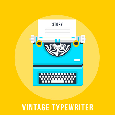 tell stories: Vector illustration of flat vintage typewriter isolated on yellow background. Illustration