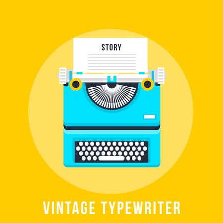 classic authors: Vector illustration of flat vintage typewriter isolated on yellow background. Illustration