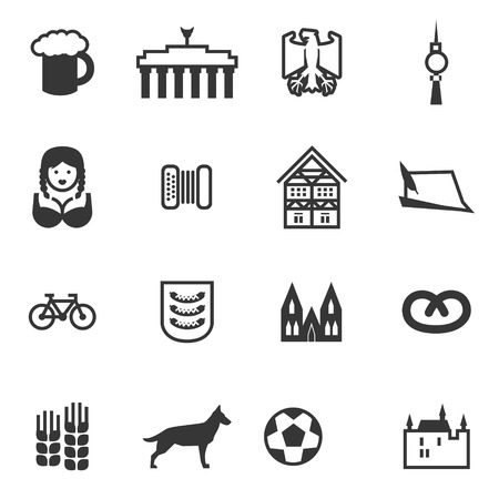 germanic people: Set of icons with signs of Germany and Berlin. Set include beer, eagle, Brandenburg gate, berlin TV tower, girl, woman, accordion, harmonica, German house, German hat, bicycle, football, castle, German Shepherd, Pretzel.