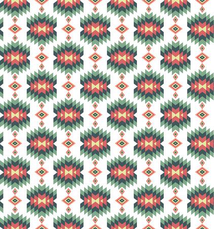 シームレスなベクトル カラフルなアズテック パターン。ヴィンテージのイラスト。