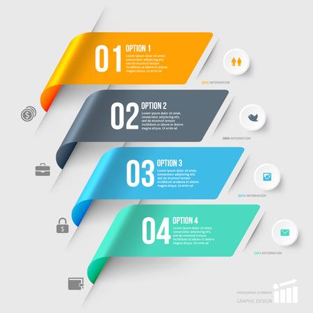 spruchband: Moderne Infografiken Elementnummer Vorlage. Vektor-Illustration. kann für die Workflow-Layout, Diagramm, Wirtschaft Schritt Möglichkeiten, Banner, Web-Design verwendet werden,