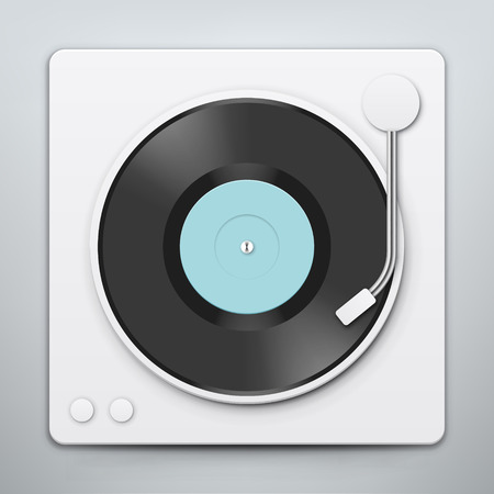 record player: Vinyl player with red vinyl record vector, record player, old, disco, gramophone