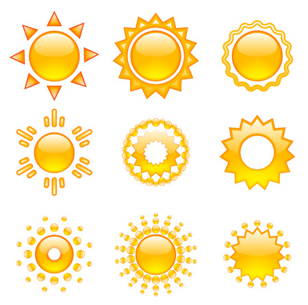 sun cartoon: Set of emoji vector suns. Suns collection. Isolated objects on white background.