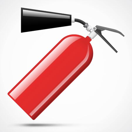 suppression: Isolated red fire extinguisher on white background Illustration