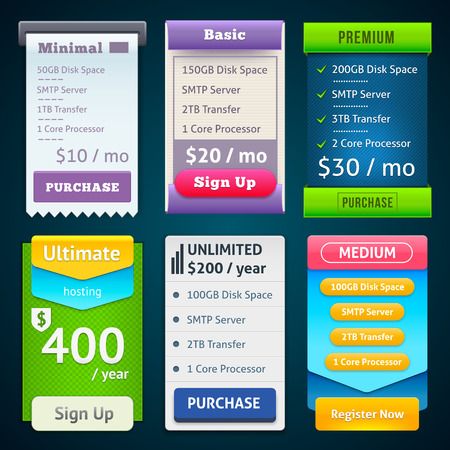 starter: Pricing Table Template. Three Plan Type Starter, Plus and Business Pro. Three offers on grey background