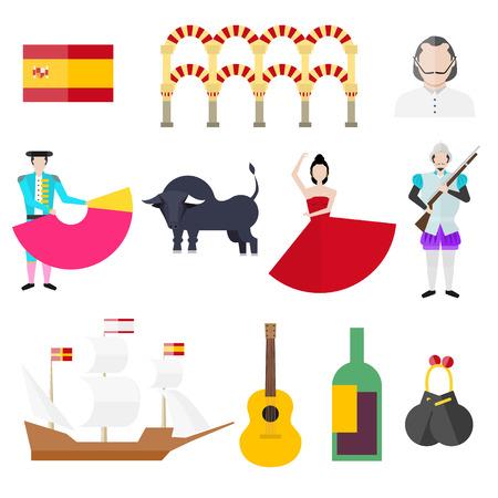 Spanish symbols, signs and landmarks. Barcelona. Spanish Armada. Bullfighting. Torero. Bull. Spanish flag. Castanets. Guitar. Vine. Salsa. Warship.