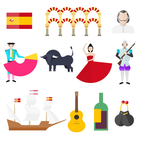 Spanish symbols, signs and landmarks. Barcelona. Spanish Armada. Bullfighting. Torero. Bull. Spanish flag. Castanets. Guitar. Vine. Salsa. Warship.