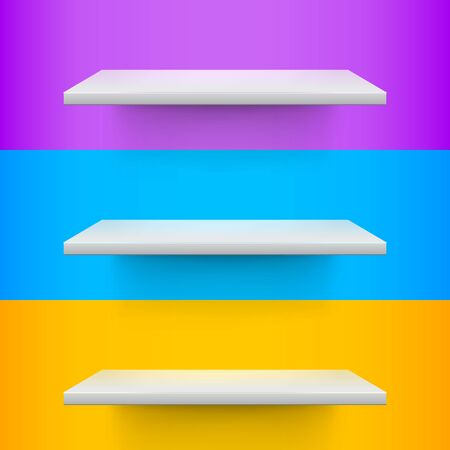 voilet: Three white realistic shelves on voilet, blue and yellow background. Vector illustration